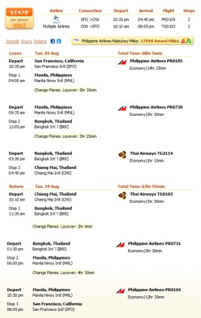 San Francisco to Chiang Mai flight details
