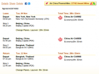 China Air flight from New York to Bangkok from $910