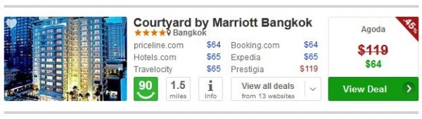 4 star Courtyard by Marriott Bangkok hotel for $65