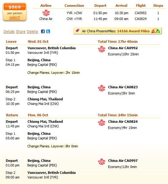 China Air airfare to Bangkok from $870