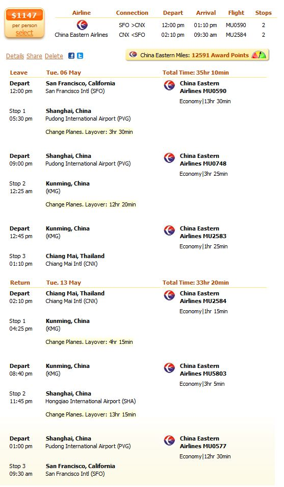 China Eastern Airlines flight to Chiang Mai details