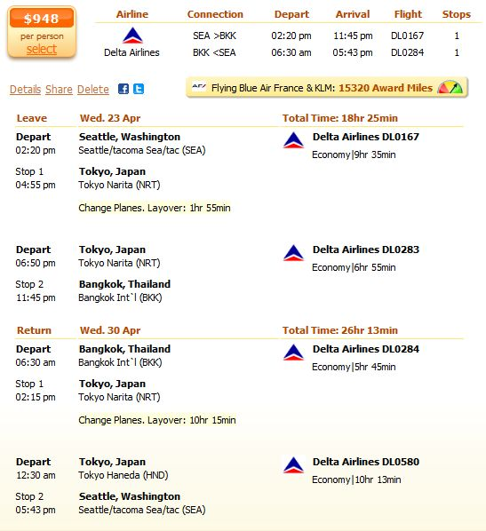 Seattle to Bangkok flight with Delta details