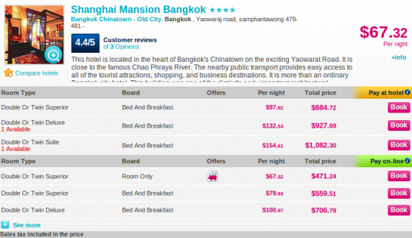Shanghai Mansion Bangkok - deal details